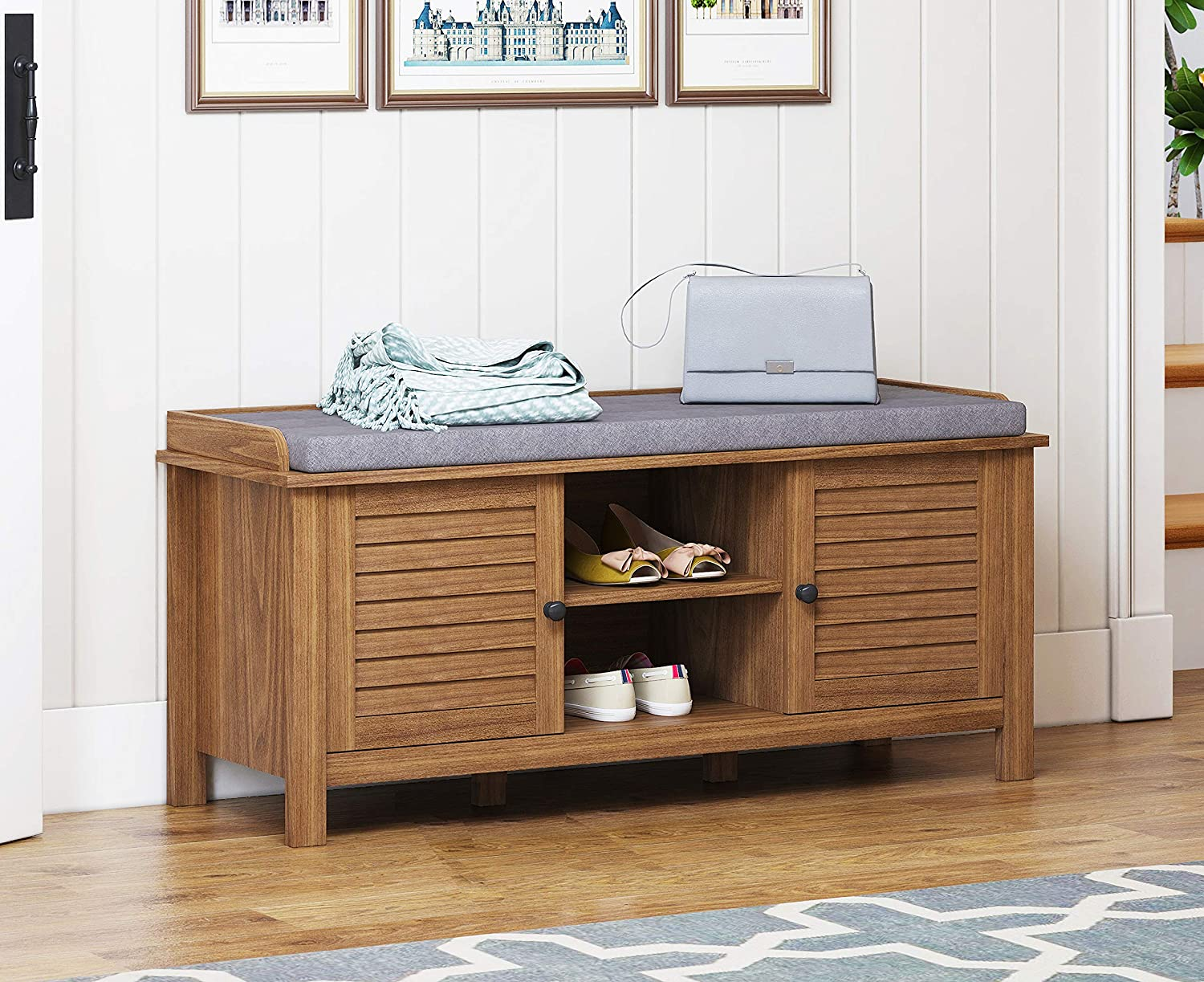 Spirich Home Entryway Benches with Storage and Cushion, Large Entryway Storage Bench with Adjustable Shelf and Louvre Door