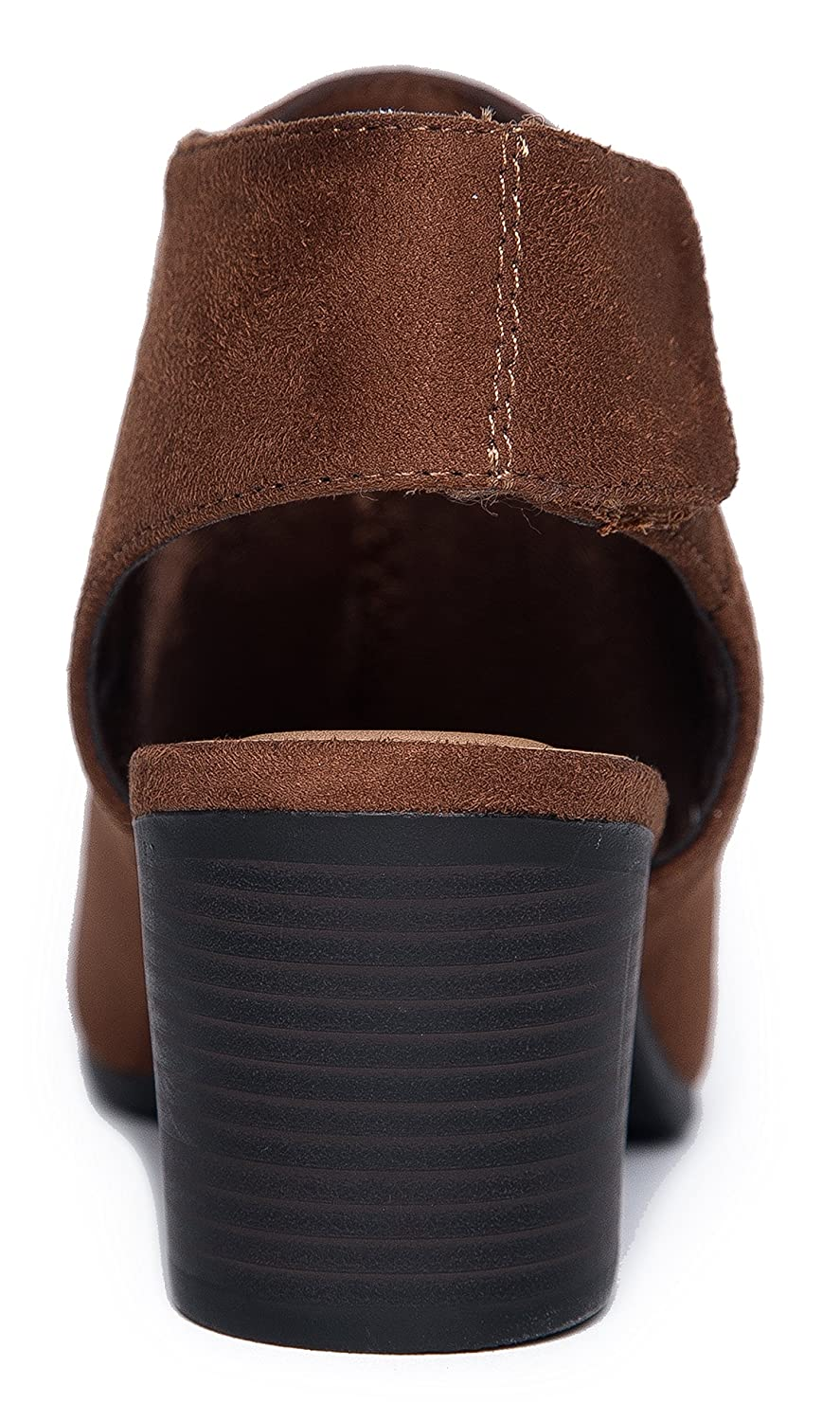 J Adams Harlyn Ankle Bootie Adjustable Band Peep Toe Low Stacked Heel Boots