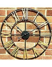 Klass Home Collection Stunning Skeleton Indoor/Garden Wall Clock Large Roman Numeral Open Face Metal Clock Round Iron Black