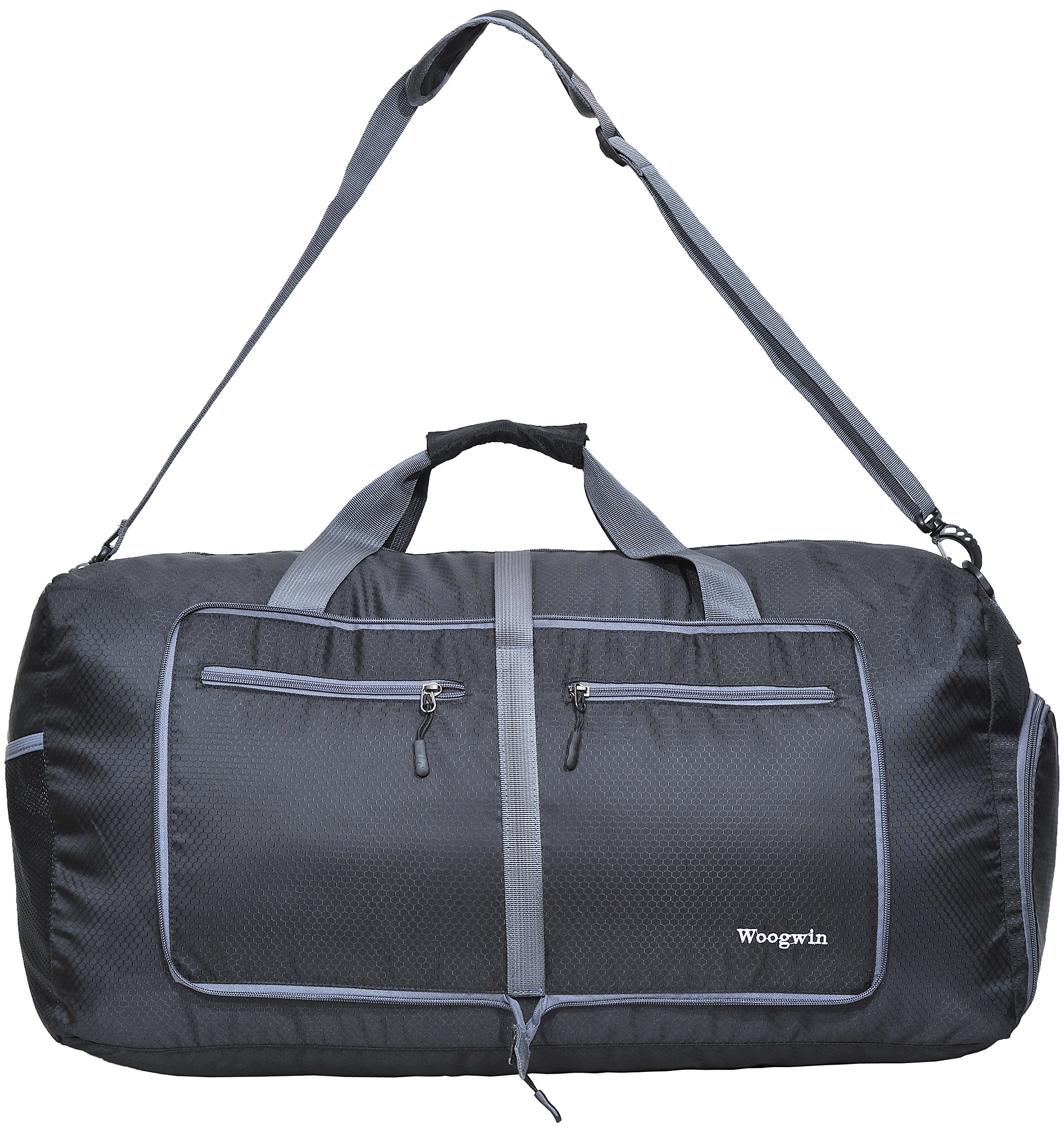 Woogwin Womens & Mens Travel Duffel Bag 60L Foldable Duffle Bags For Luggage Gym Sports (Black) by Woogwin