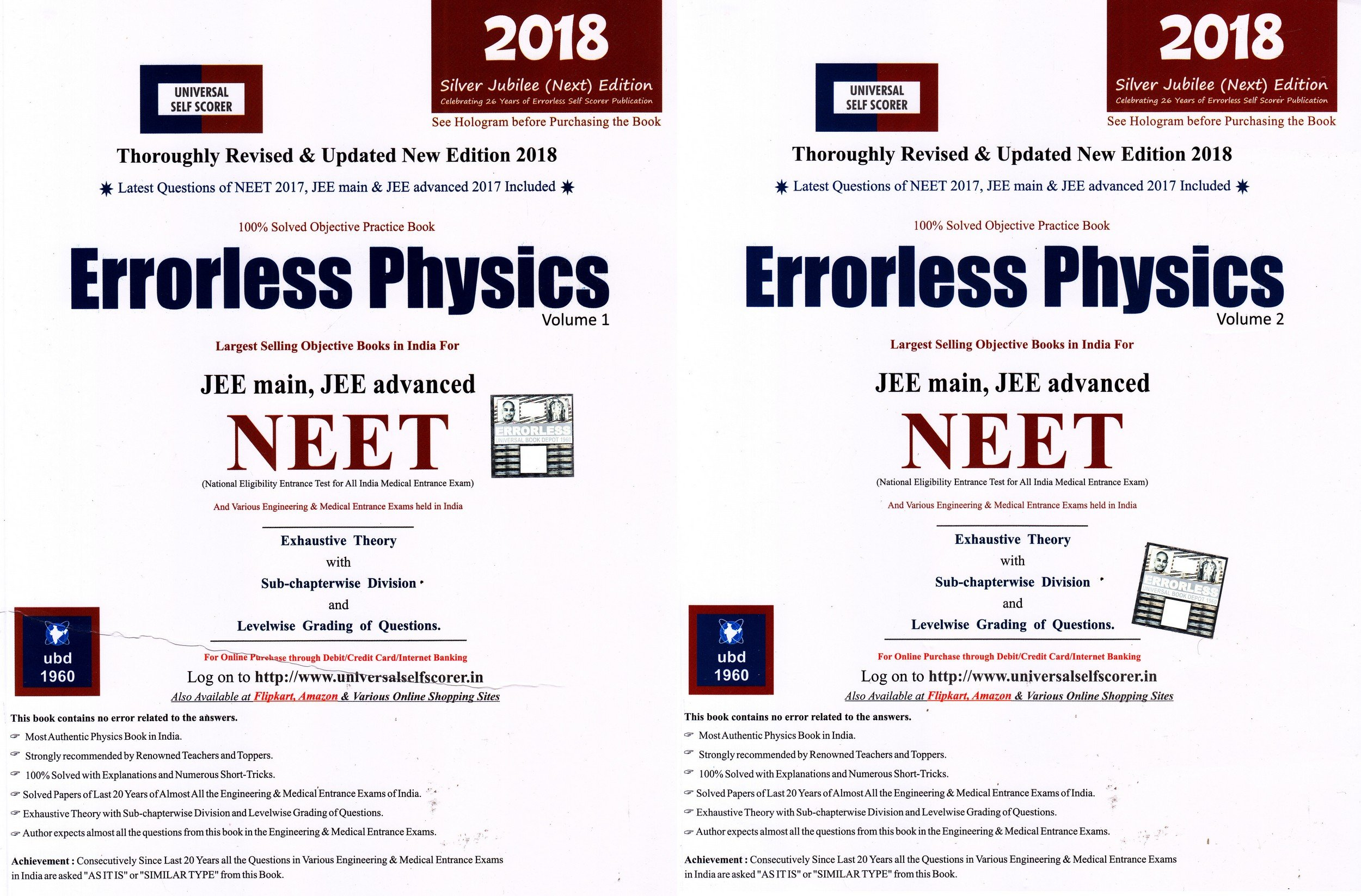 Errorless Physics for JEE Main, JEE Advanced, NEET Set of 2 Volume