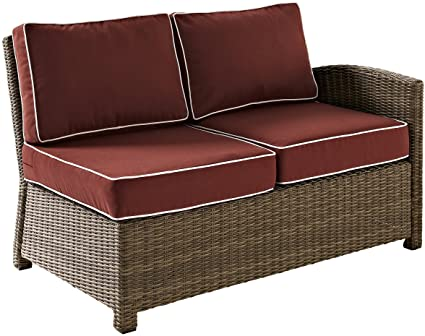 Sensational Crosley Furniture Bradenton Outdoor Wicker Sectional Right Corner Loveseat With Cushions Sangria Onthecornerstone Fun Painted Chair Ideas Images Onthecornerstoneorg