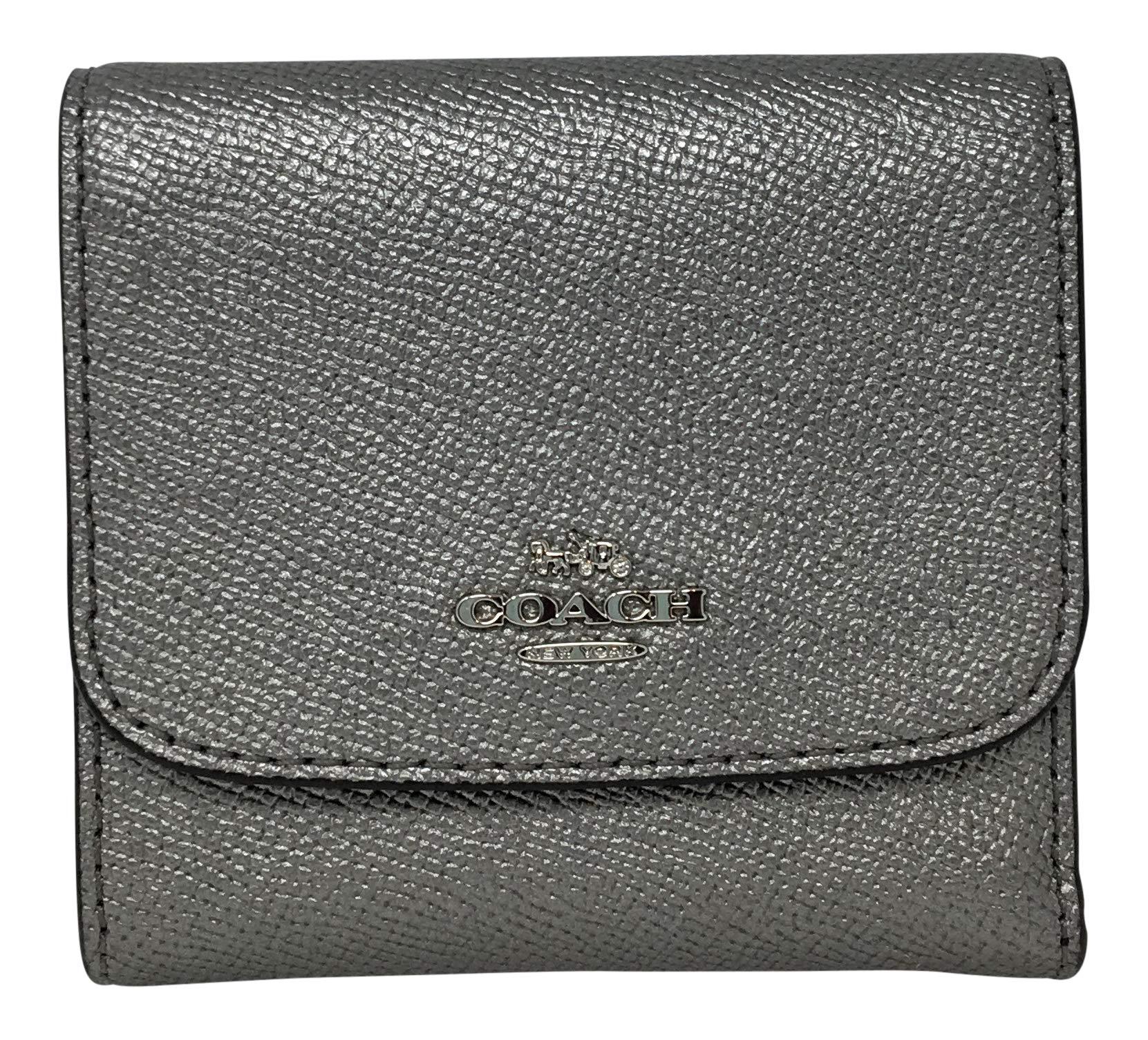 COACH Metallic Crossgrain Leather Small Wallet Gunmetal F21069