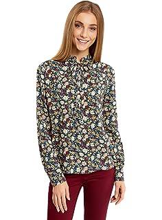oodji Ultra Mujer Blusa de Tejido Combinado con Pu/ños a la Moda