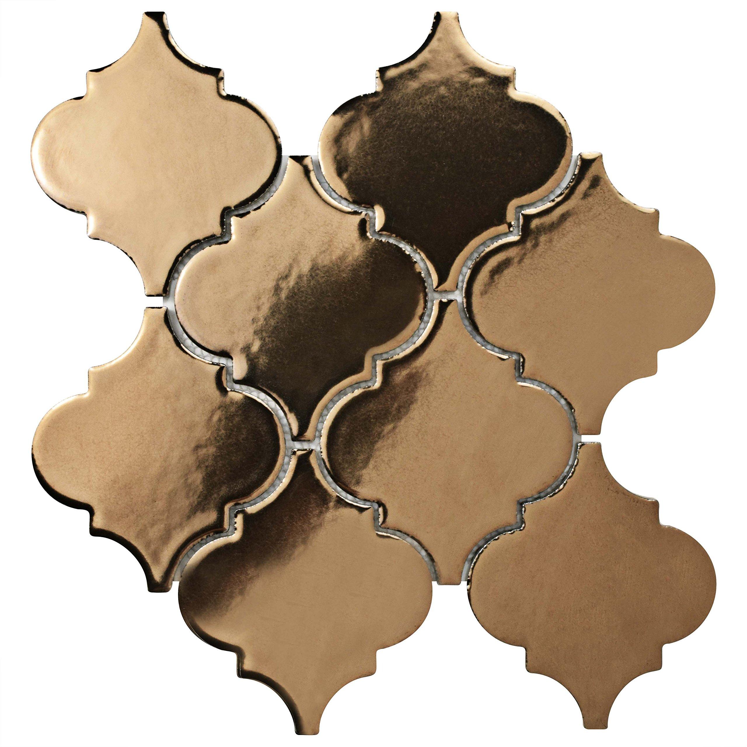 SomerTile FSDELTBB Essentia Lantern Porcelain Mosaic Floor and Wall Tile, 10.5'' x 10.5'', Burnished Bronze by SOMERTILE