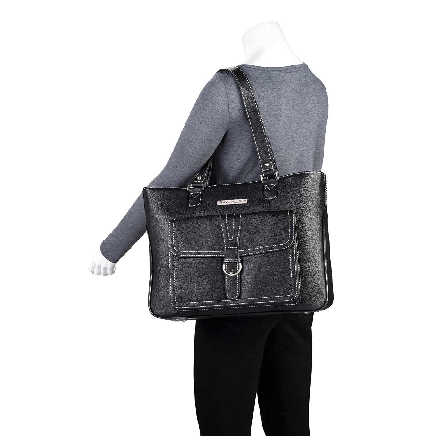 """Amazon.com: Clark & Mayfield Women's Stafford Pro Leather Laptop Tote Bag  15.6"""" - Black: Clothing"""