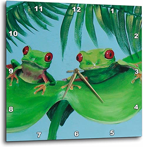3dRose Amy Hurley Heath Animals – Miscellaneous – 2 Tree Frogs on a Big Palm Leaf – 15×15 Wall Clock DPP_44372_3