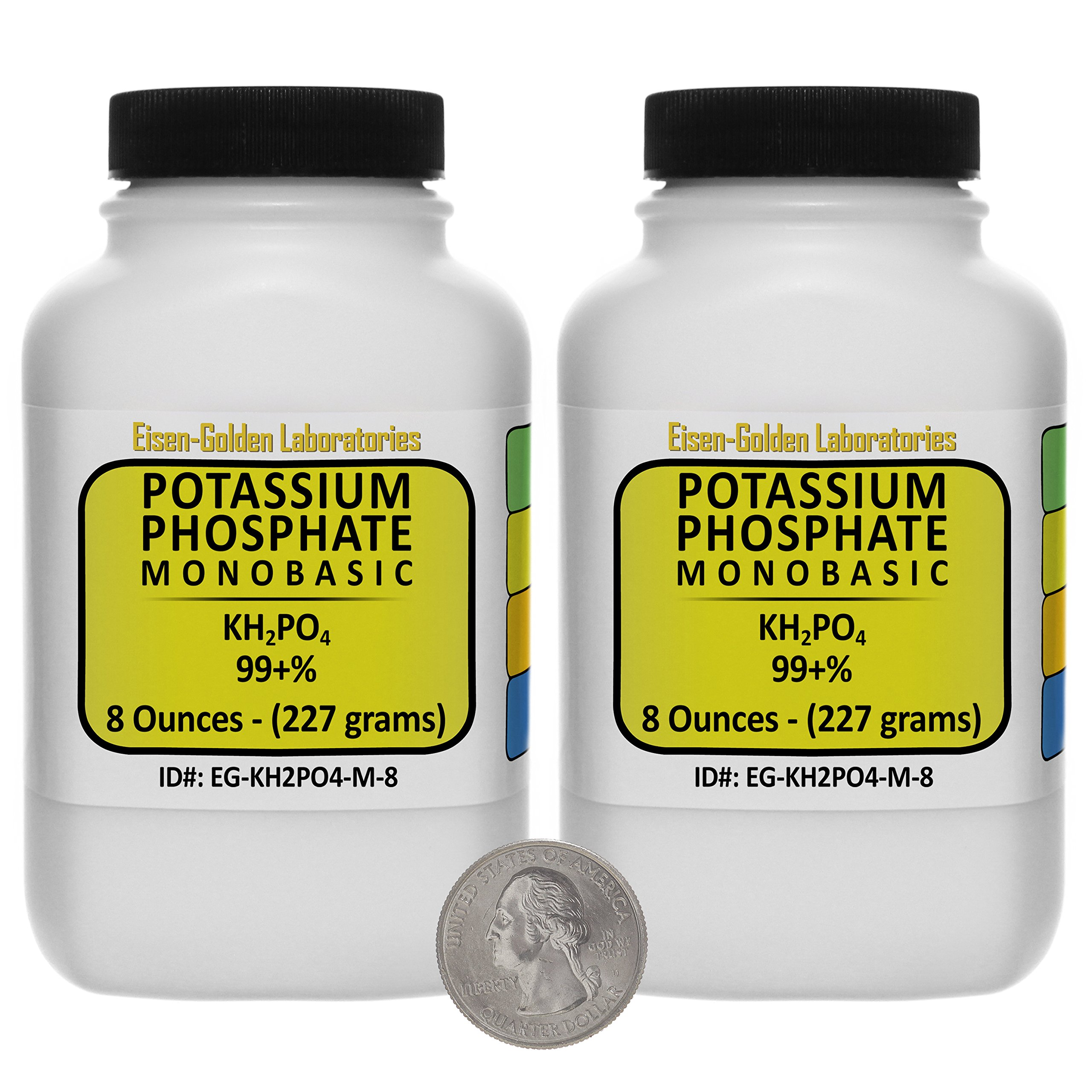 Potassium Phosphate Monobasic [KH2PO4] 99+% Fine Crystals 1 Lb in Two Space-Saver Bottles USA