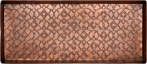 HF by LT Garden Gate Pattern Metal Boot Tray, 30 x 13 inches, Antique Copper Finish