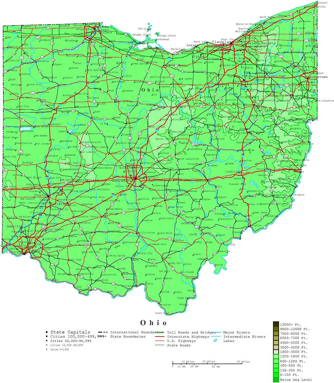 Amazon Com Home Comforts Large Detailed Elevation Map Of Ohio