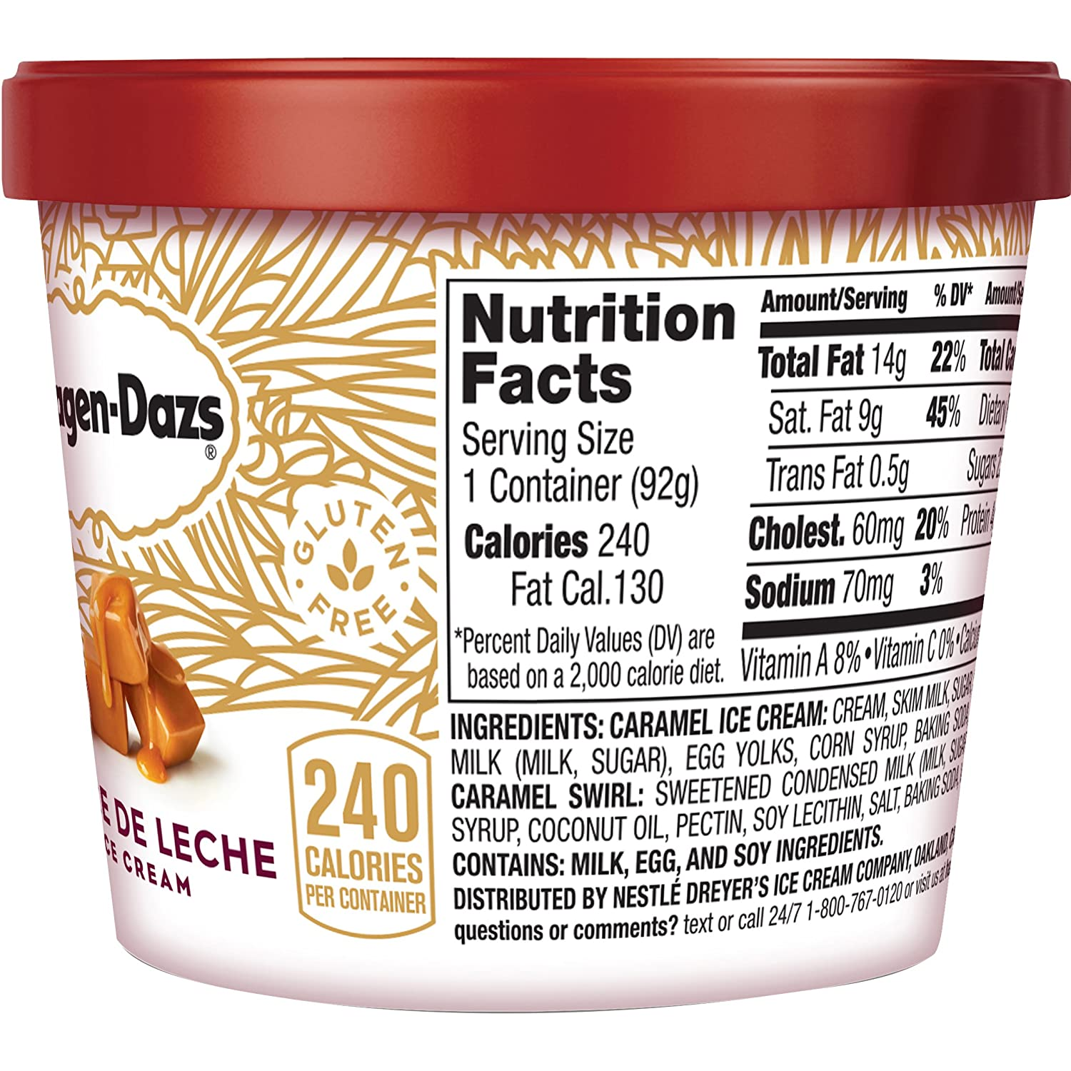 Haagen-Dazs Cup Dulce De Leche Ice Cream 3.6 oz (Frozen): Amazon.com: Grocery & Gourmet Food