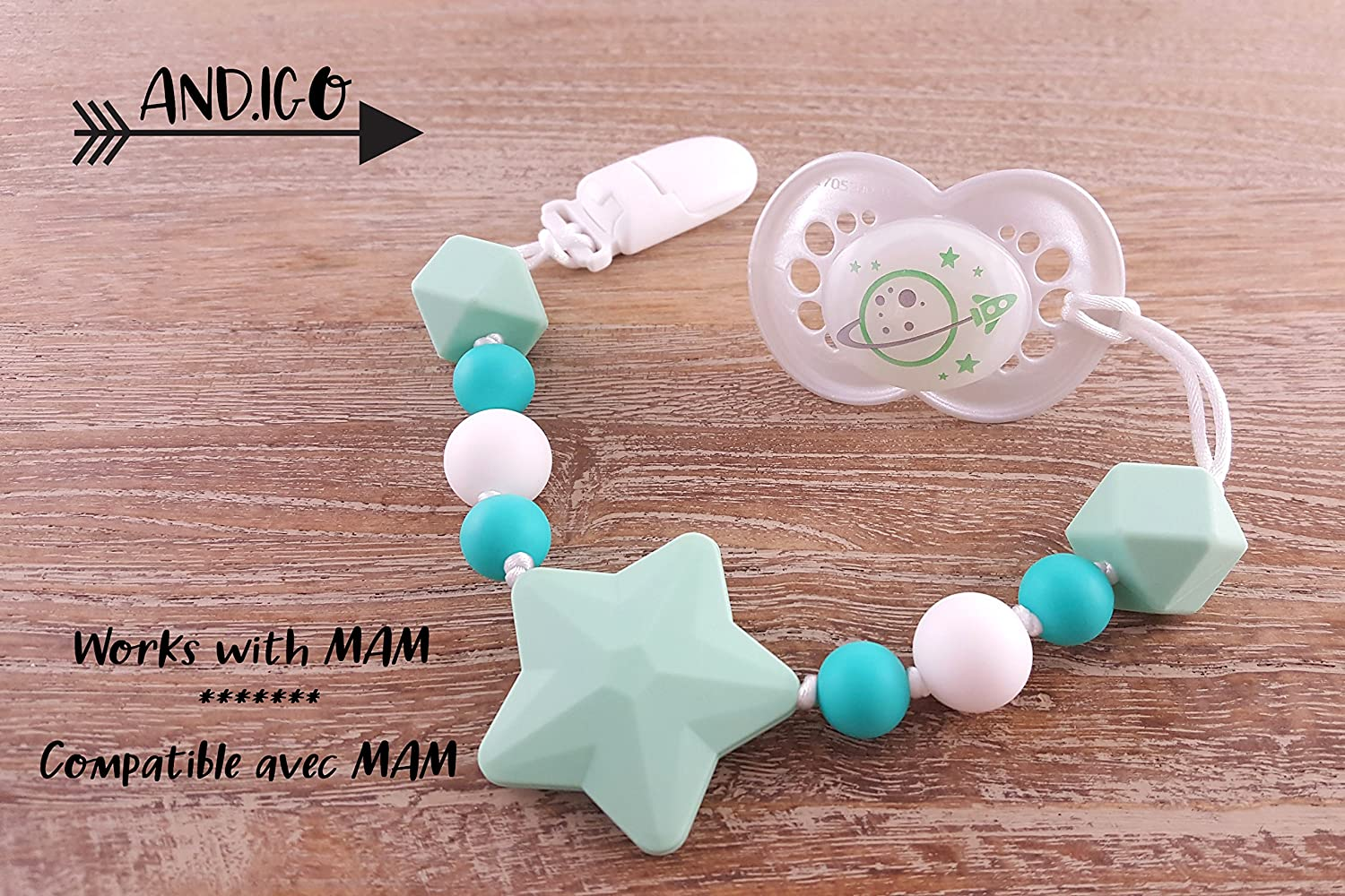 Pacifier Clip Holder - 2 in 1 - with Silicone Teething Beads, for Girls, Boys, Unisex, Set of Two, Compatible with MAM, Soothie, NUK, Tommee Tippee and Other Pacifiers - Navy//Turquoise ANDIGO