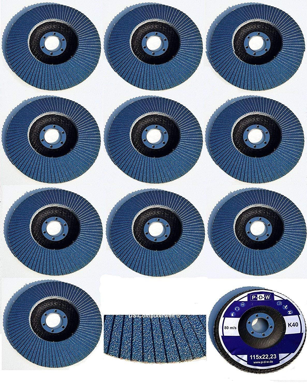 30 INOX Fä cherscheiben Ø 115 mm x 22, 23 mm Korn 120 aus Edelstahl in blau Schleifscheiben - Schleifmoppteller - Schleifen BoH-Warenhandel