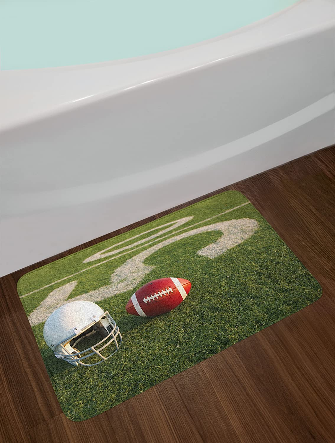 Plush Bathroom Decor Mat with Non Slip Backing Green Red White 29.5 W X 17.5 W Inches Lunarable Sports Bath Mat American Football and Helmet on The Green Grass Field with The Fifty Yard Line