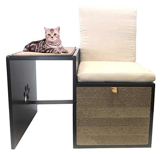 Penn Plax Cat Walk Love Seat With Scratching Post &Amp; Pad Plus Cushioned Hide Away Spot For Storage by Penn Plax