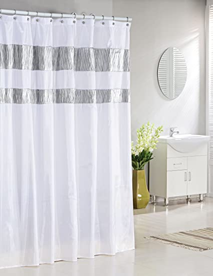 Duck River Pure White Fabric Shower Curtain With Silver Metallic Accent Stripes Bathroom And More