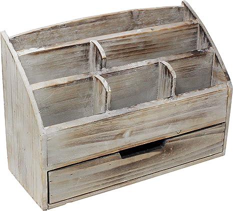 Organizador de escritorio vintage rústico de madera para ...