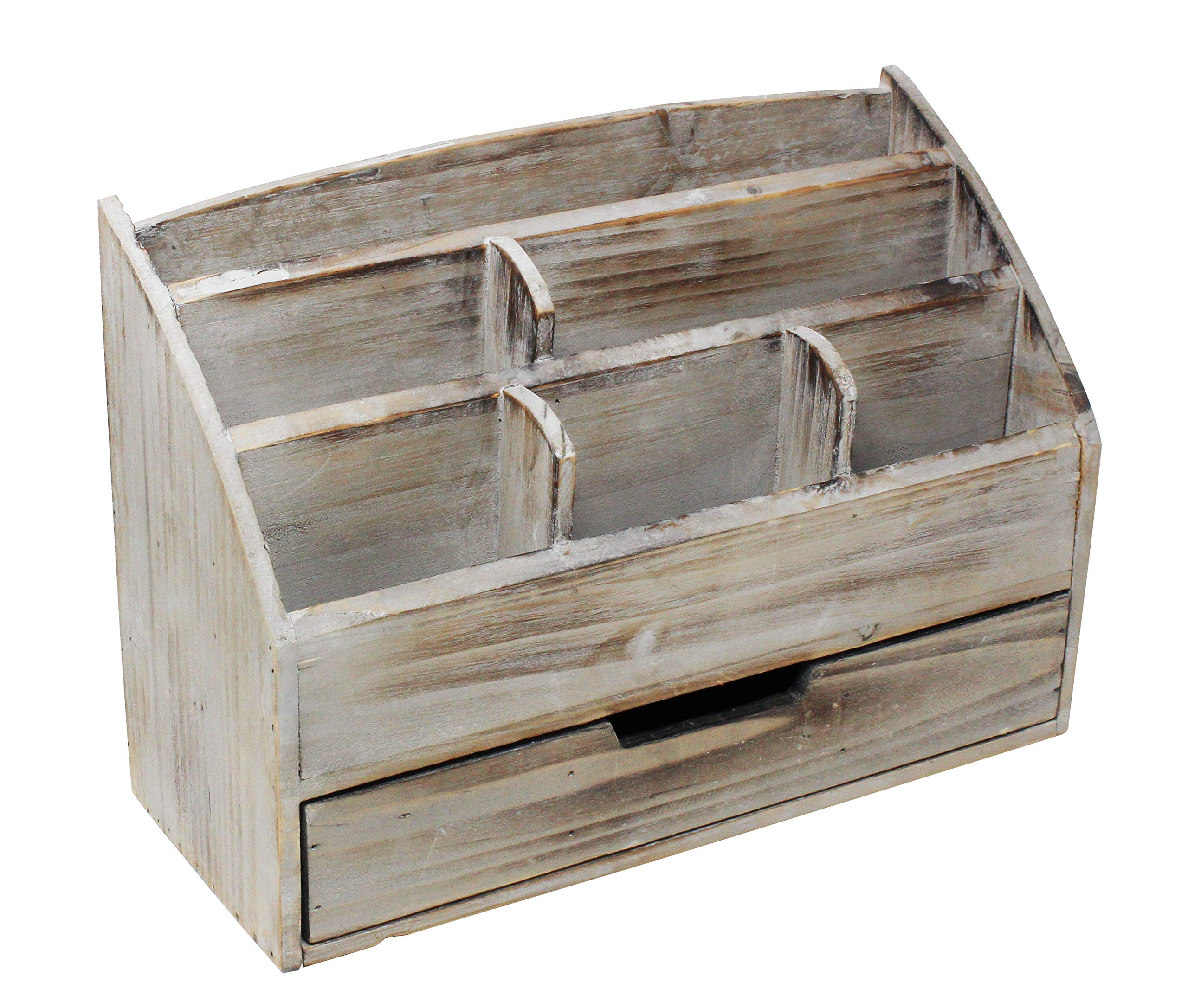 Vintage Rustic Wooden Office Desk Organizer & Mail Rack for Desktop, Tabletop, or Counter - Distressed Torched Wood – for Office Supplies, Desk Accessories, or Mail