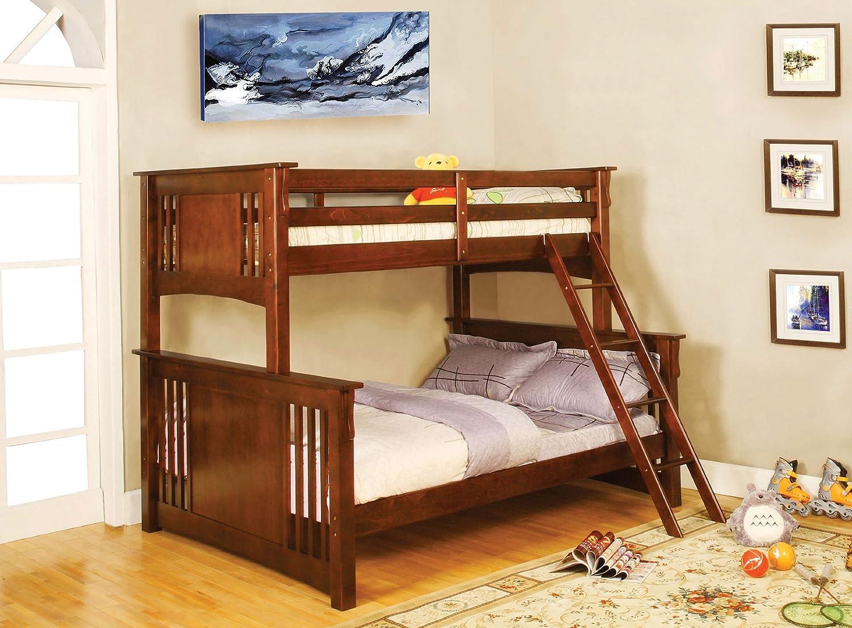 Amazon.com: Furniture of America Concord Bunk Bed, Twin/Full, Dark Oak:  Kitchen & Dining