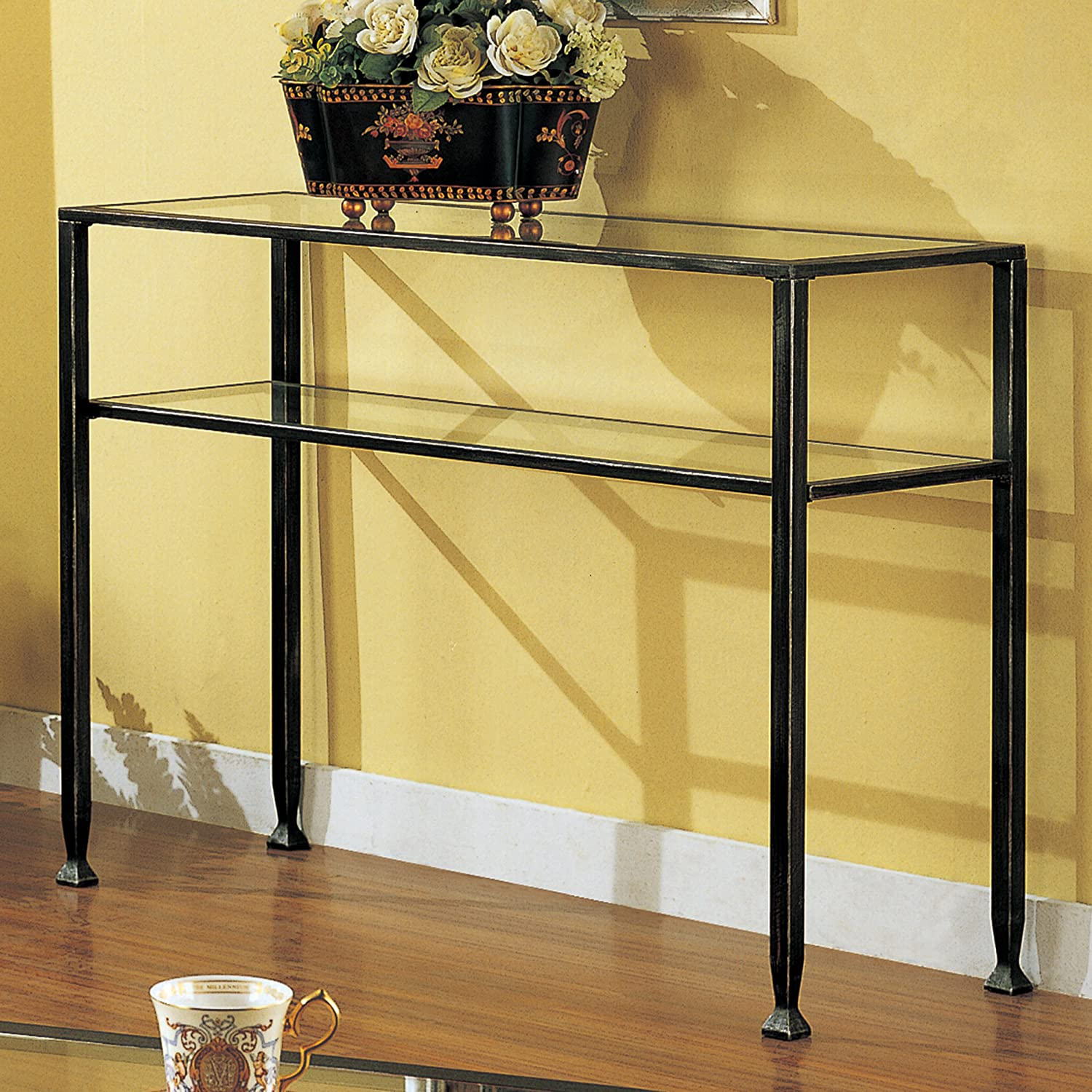 Amazon southern enterprises sofa console table black with amazon southern enterprises sofa console table black with silver distressed finish kitchen dining geotapseo Image collections
