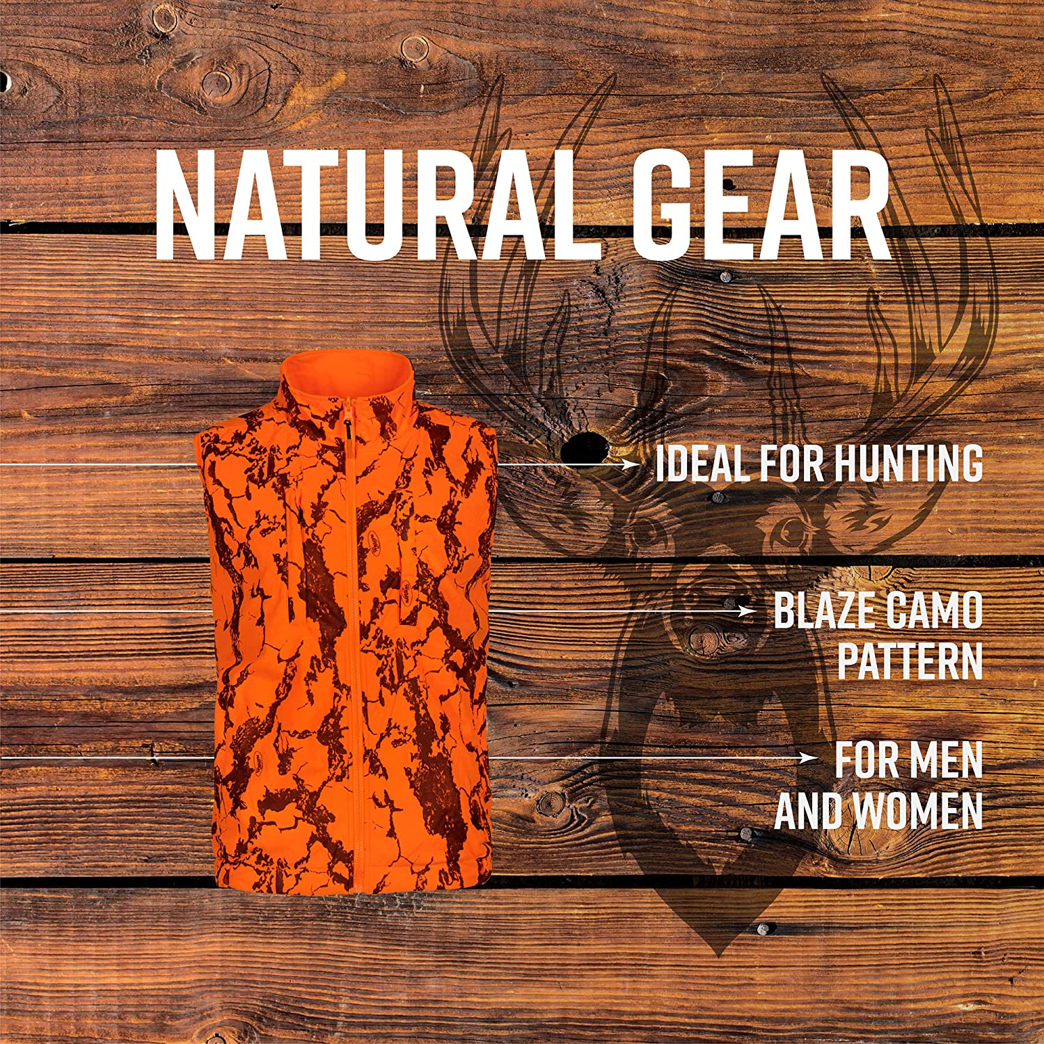 b8f4dd7ed9962 Amazon.com : Natural Gear Reversible Blaze Camo Safety Vest, Orange Hunting  and Safety Vest : Sports & Outdoors