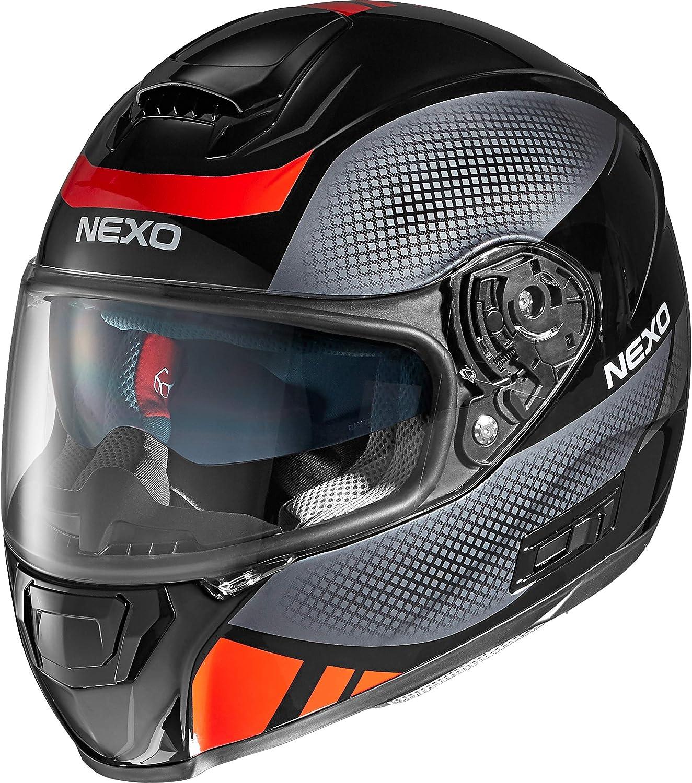 klares XS Bel/üftung Integralhelm mit Sonnenblende Ratschenverschluss 1.500 g XL matt Schwarz Nexo Integralhelm Motorradhelm Helm Motorrad Mopedhelm Comfort kratzfestes Visier