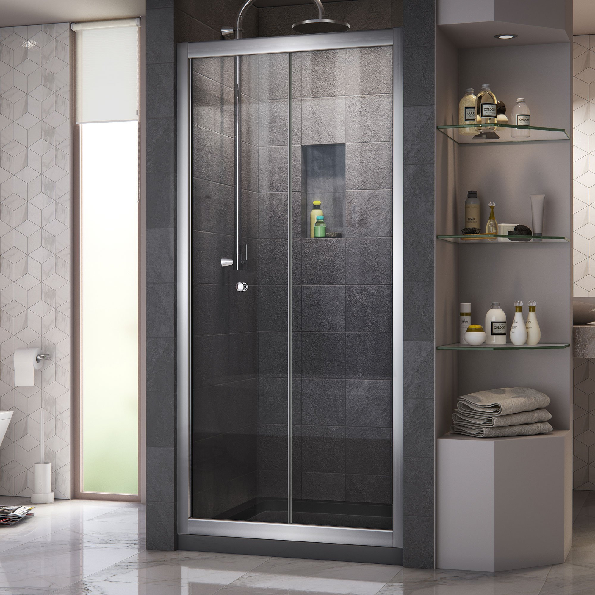 DreamLine Butterfly 34-35 1/2 in. Width, Frameless Bi-Fold Shower Door, 1/4'' Glass, Chrome Finish by DreamLine (Image #1)