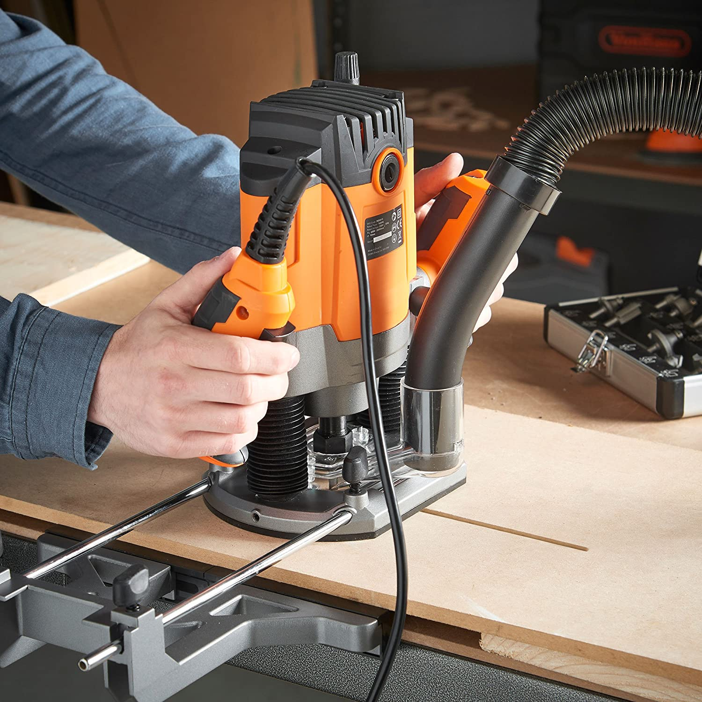 VonHaus 1600W Router mit 1//2 und 1//4 Spannzange Holzbearbeitung Elektrowerkzeug Softstart und variable Geschwindigkeitsfunktionen