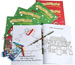 Neliblu Holiday Character Fun Coloring Activity Books Christmas Stocking Stuffers, Chrimstmas Party Supplies, X-mas Activity Books (Pack of 12)