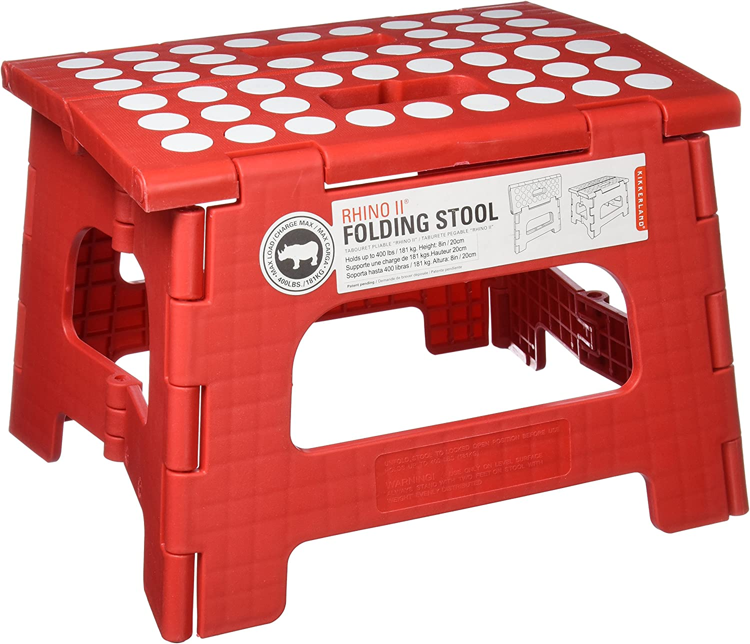 Amazon.com: Kikkerland Rhino II Step Stool, Red: Kitchen & Dining