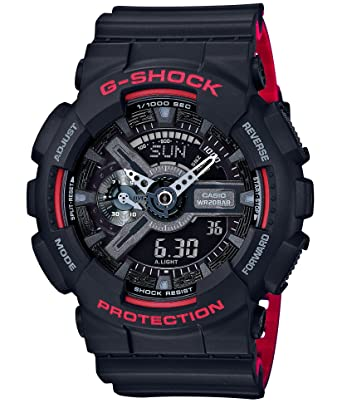 Amazon Com Casio G Shock Black Red Series Ga 110hr 1ajf