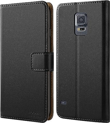 Coque Samsung S5, HOOMIL Housse en Cuir Premium Flip Case Portefeuille Etui Coque pour Samsung Galaxy S5 (H3001, Noir)