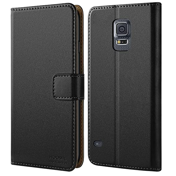 outlet store 9a0db 07076 HOOMIL Case Compatible with Samsung Galaxy S5, Premium Leather Flip Wallet  Phone Case Cover for Samsung Galaxy S5 (Black)