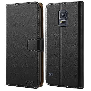 HOOMIL Funda Samsung Galaxy S5, Cuero Premium Fundas para Samsung S5 Carcasa Case (H3001, Negro)