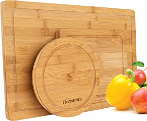 """Homeries Bamboo Cutting Boards (Set of 3) with Juice Grooves - 9"""" Square, 8"""" Round & 17"""" Rectangle Wooden Chopping Board for Meat, Vegetables, Fruit & Cheese – Knife Friendly Kitchen Cutting Board"""