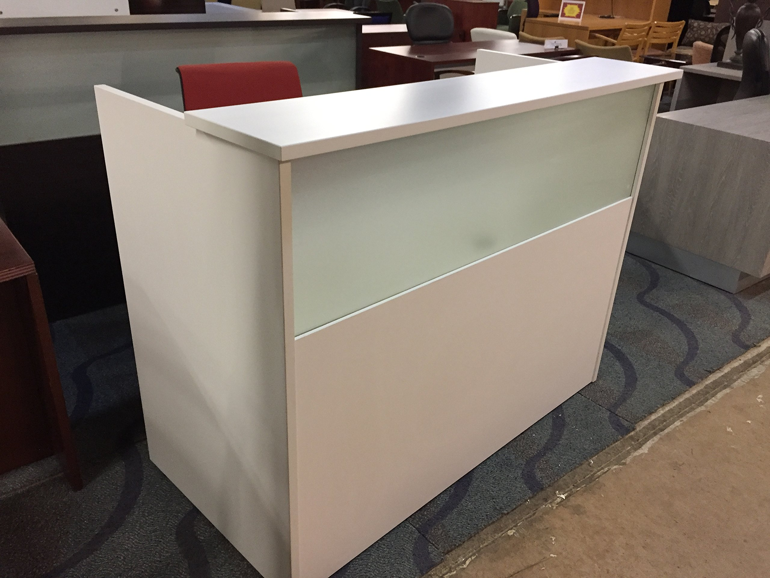 DFS Reception Desk Shell which fits a 15'' Monitor - 60'' W by 30'' D by 44'' H White W/Frosted Glass Front by DFS Designs