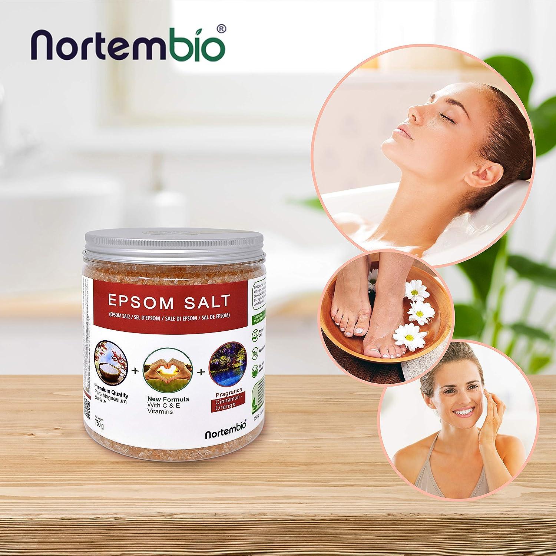 Nortembio Sal de Epsom 750 g. Novedosa Fragancia de Canela Naranja. Hidratada con Vitamina C y E. Sales de Baño y Cuidado Personal.: Amazon.es: Hogar