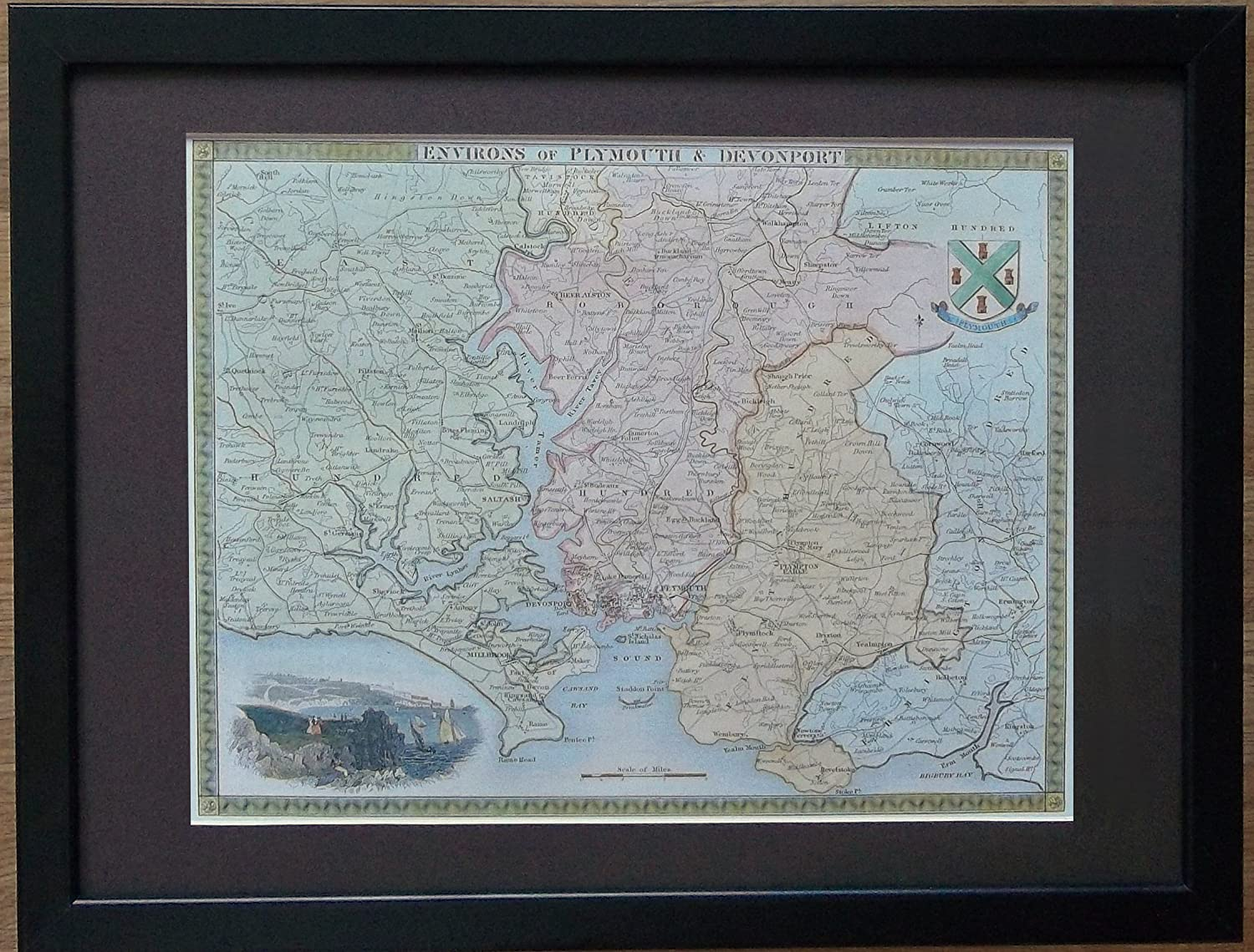 Framed and Mounted Plymouth Map - 12'' x 16'' frame, Old Plymouth and Devonport Map framed print