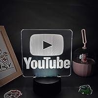 YouTube Mark Lava Lampen 3D LED RGB Neon Nachtverlichting Cool Kleurrijke Gift voor Vrienden Slaapkamer Nachtkastje…
