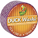 Duck Brand Washi Crafting Tape, 0.75-Inch by 240-Inch Roll, Single Roll, Purple Chevron (282677-S)