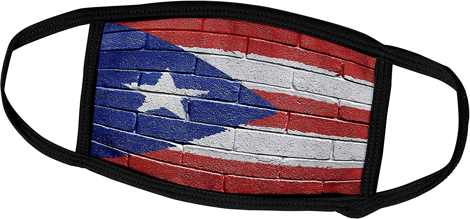 3dRose Carsten Reisinger Illustrations - National Flag of Puerto Rico Painted onto a Brick Wall Rican - Face Masks (fm_156970_1)