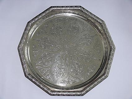 Artesanía oriental rareza bandeja de té plata plateado Marruecos, hecho a mano-antigüedad único