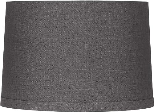 Gray Linen Drum Lamp Shade 15X16X11 Spider – Springcrest