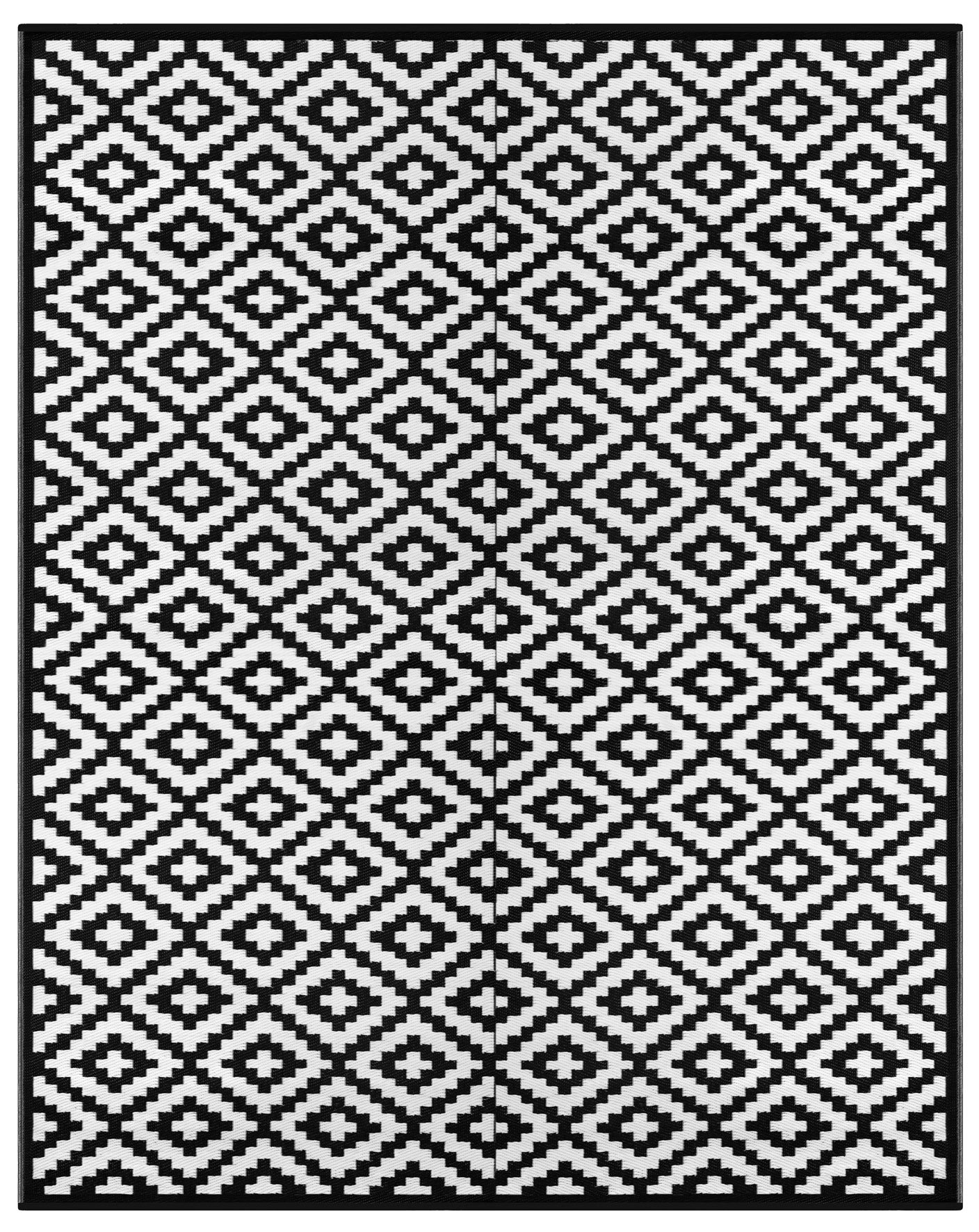 Lightweight Outdoor Reversible Plastic Nirvana Rug (8ft x10 ft, Black / White) by Green Decore