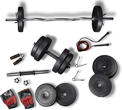 Lifelong PVC Home Gym Set 10-20kg Plate 3feet curl Rod and Dumbbells rods with Gym Accessories