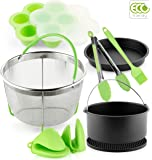 PerfeCome, Pressure Cooker Accessories Set Compatible with Instant Pot Accessories 6 & 8qt, Ninja Foodi and Other Multi Cookers, Steam Basket, Cake Pan Nonstick Coating, Pizza Pan & More