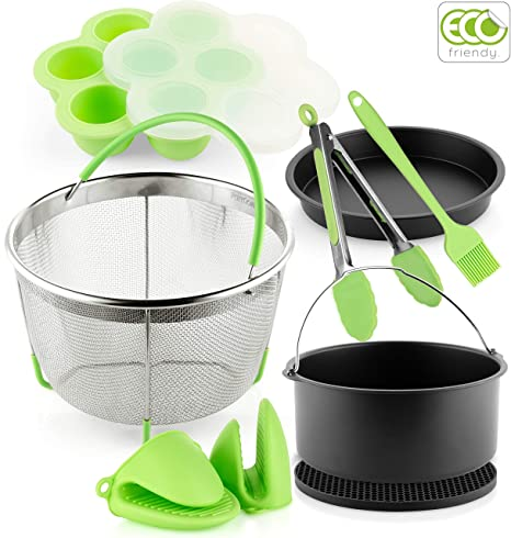 PerfeCome, Pressure Cooker Accessories Set Compatible with Instant Pot Accessories 6 & 8qt, Ninja Foodi and Other Multi Cookers, Steam Basket, Cake ...