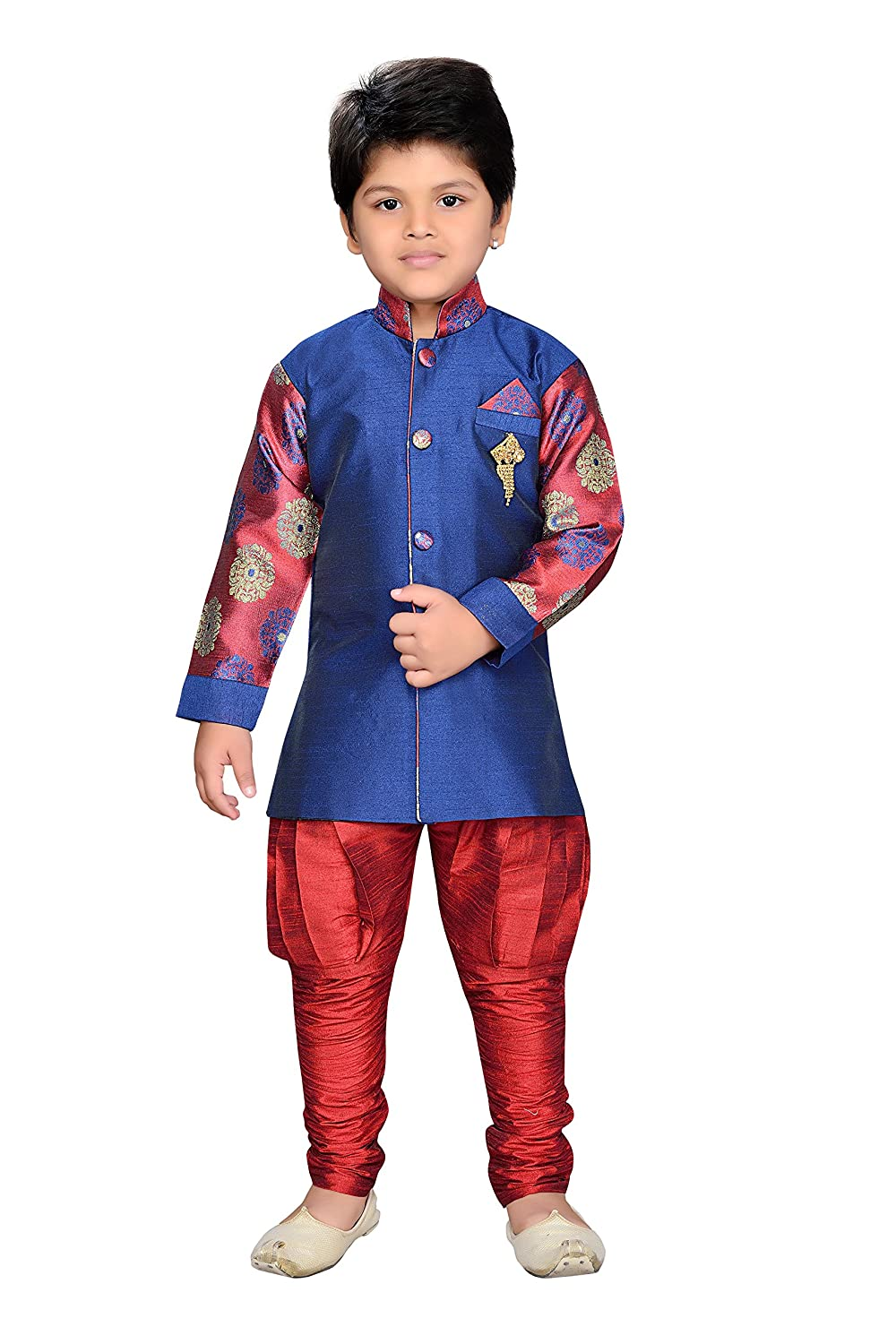 AJ Dezines Kids Indian Wear Bollywood Style Sherwani for Baby Boys 699-GREY-1