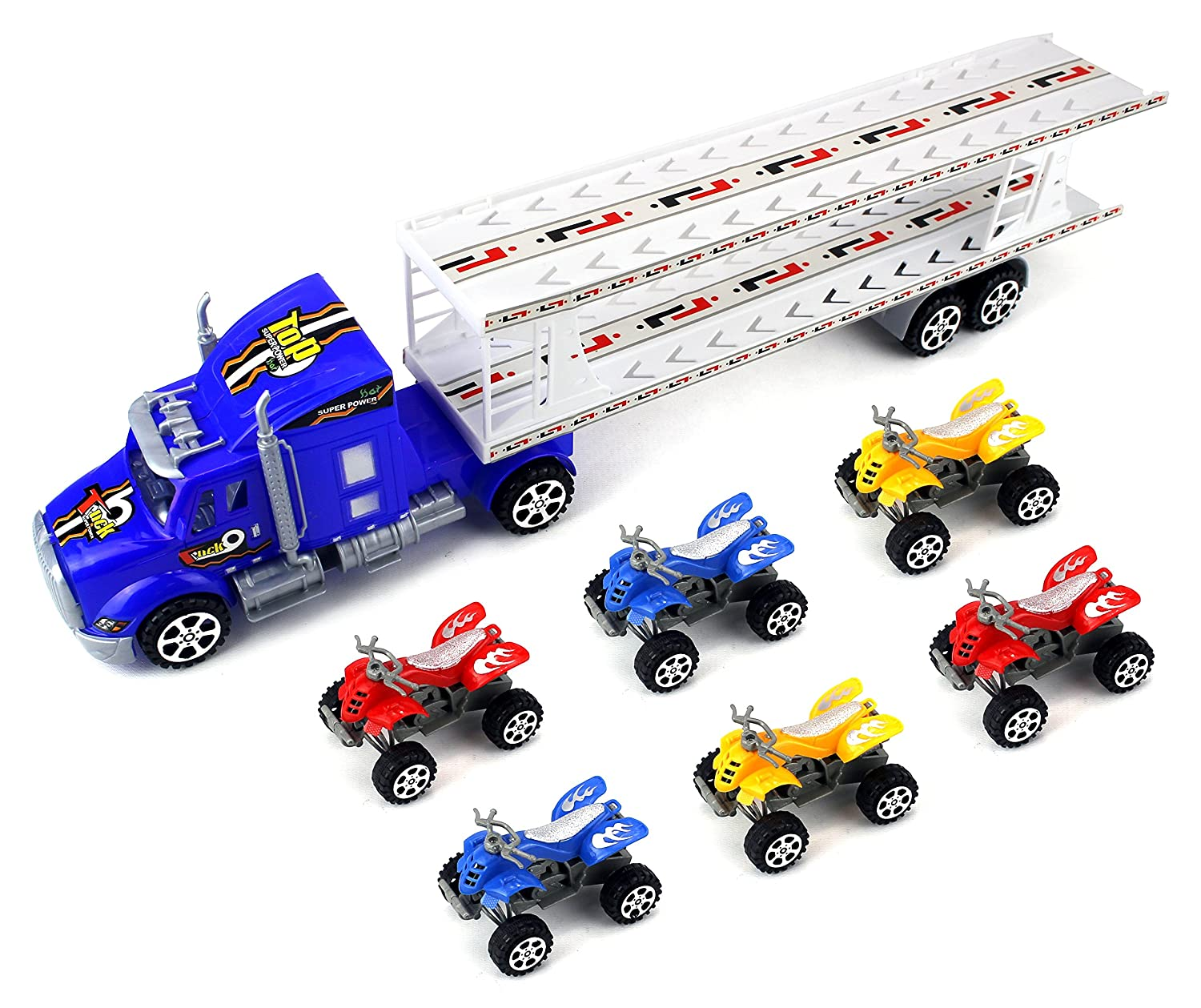 Top Transporterトレーラー子供の摩擦Toy Semiトラックを実行する準備W / 6おもちゃATVs ( Colors May Vary ) B01M7VLY9Y