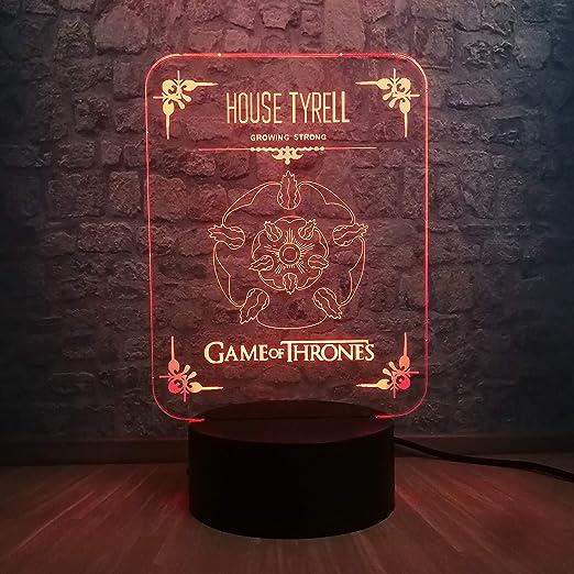 shiyueNB House Tyrell Logo 3D LED Night Light 7 Cambio de Color ...